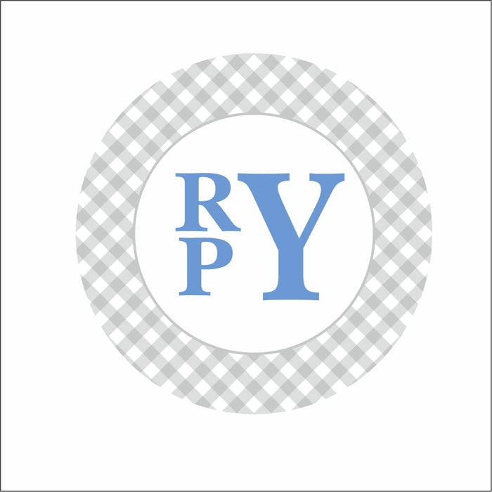 Everyday Children's Plates- Gray/Blue Monogram