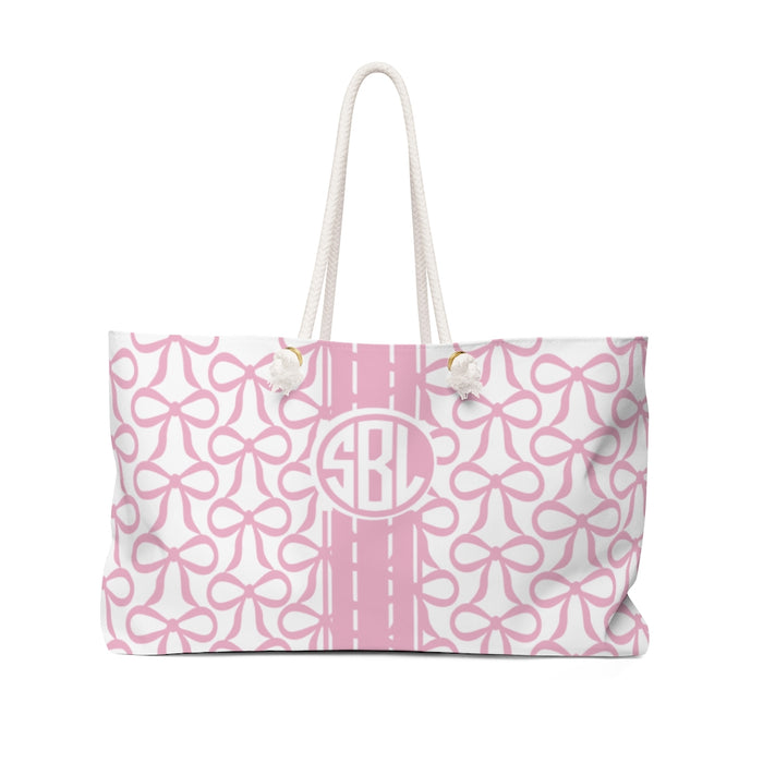 The Bow Tote- Pink with Circle Monogram