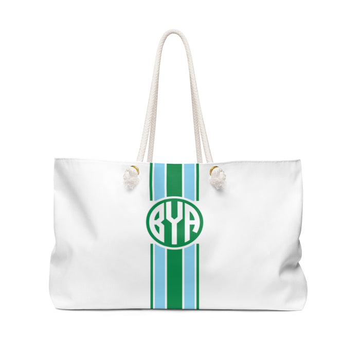 Stripe Tote- Kelly Green/Carolina Blue Circle Monogram