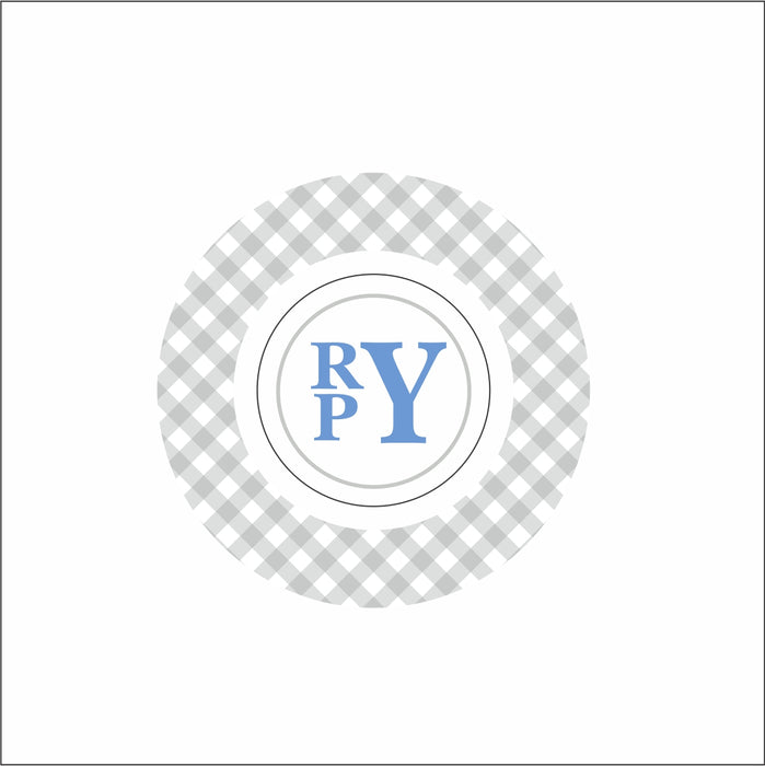 Everyday Children's Bowls- Gray/Blue Monogram
