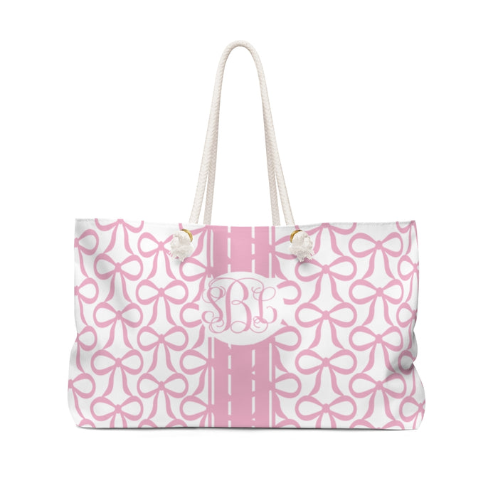 The Bow Tote- Pink with Script Monogram