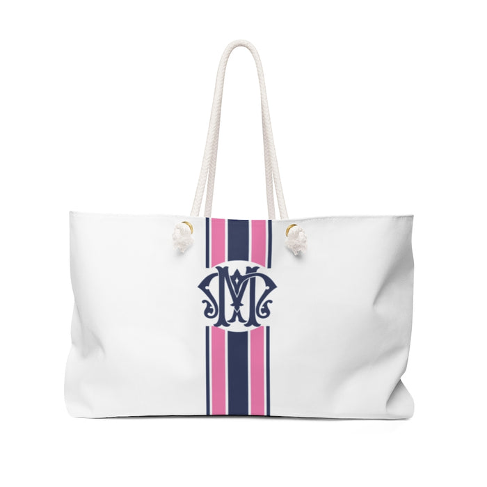 Stripe Tote- Navy/Bubblegum Ornate Monogram