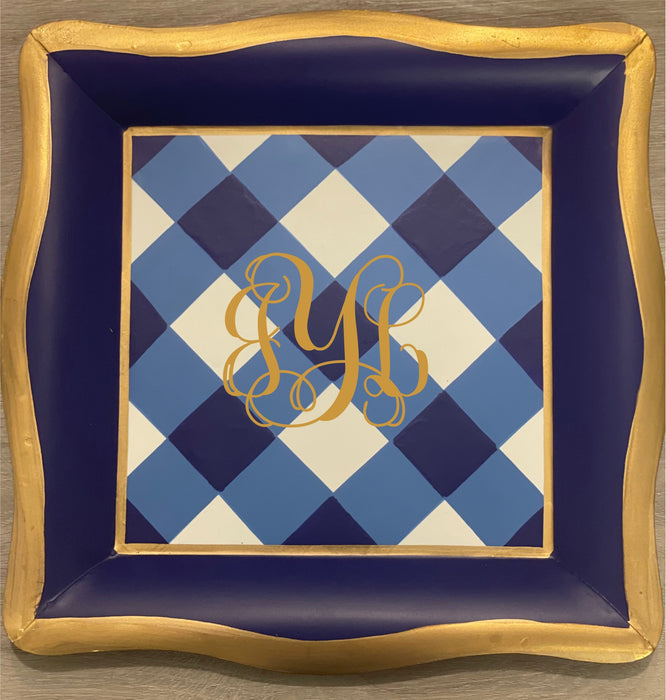 MONOGRAM MONDAY DEAL Monogrammed Gingham Tray- Blue