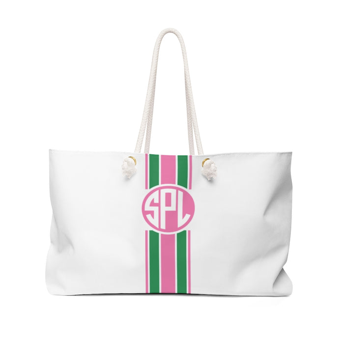 Stripe Tote- Kelly Green/Bubblegum Circle Monogram
