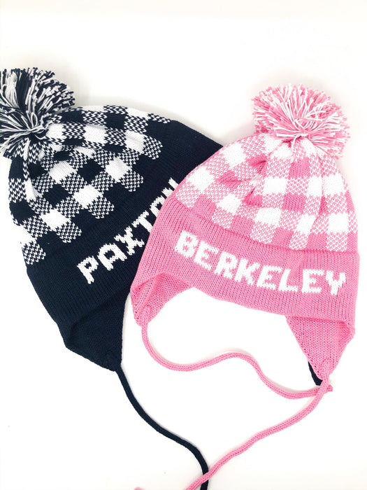Custom Knit Hat- Gingham Pattern