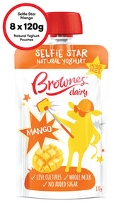 Brownes Dairy Selfie Star Lactose Free Mango Yoghurt Pouches 8 x120g