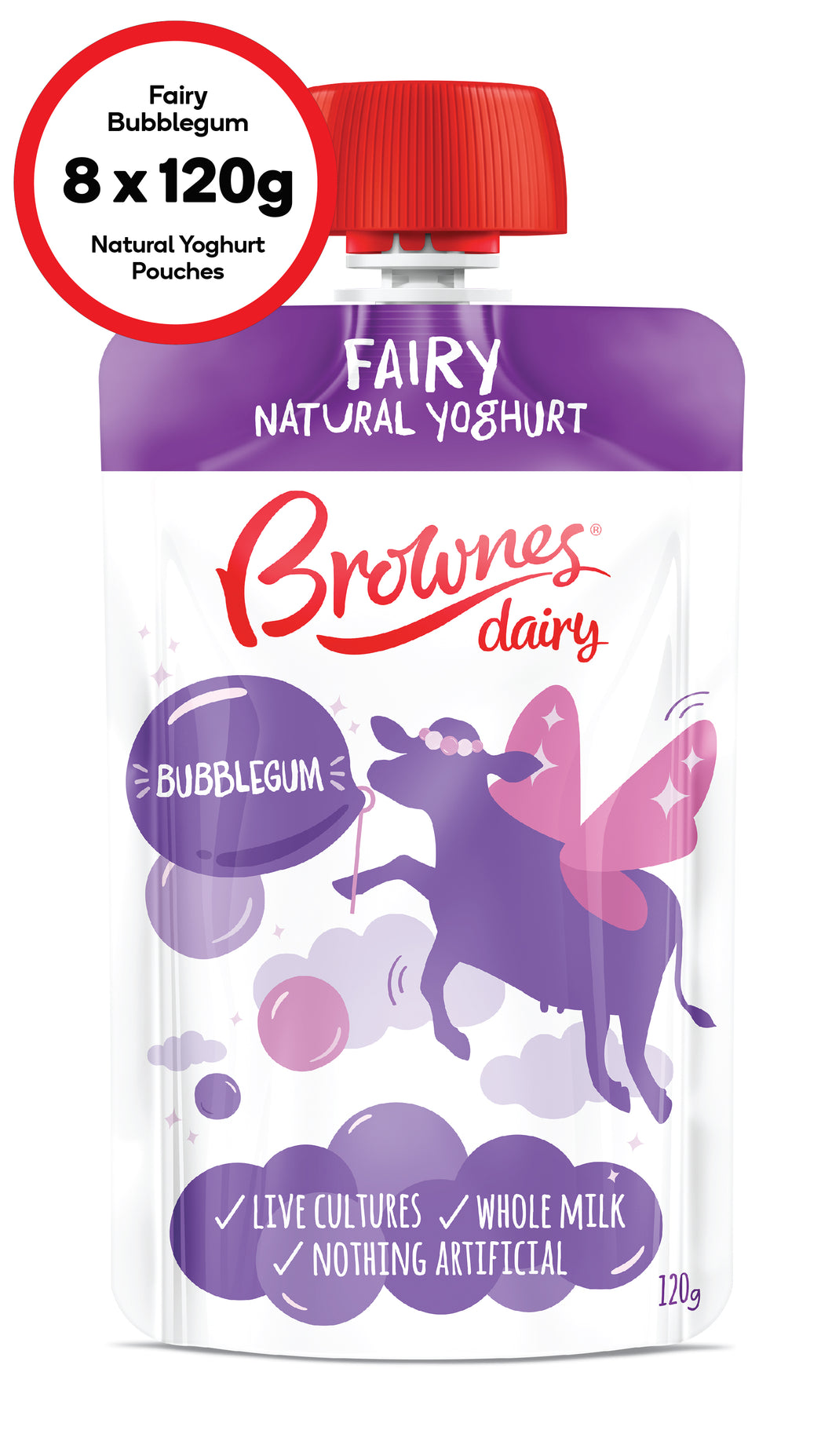 Brownes Dairy Fairy Bubblegum Natural Yoghurt 8 x 120g