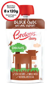 Brownes Dairy Block Choc Chocolate Natural Yoghurt 8 x 120g