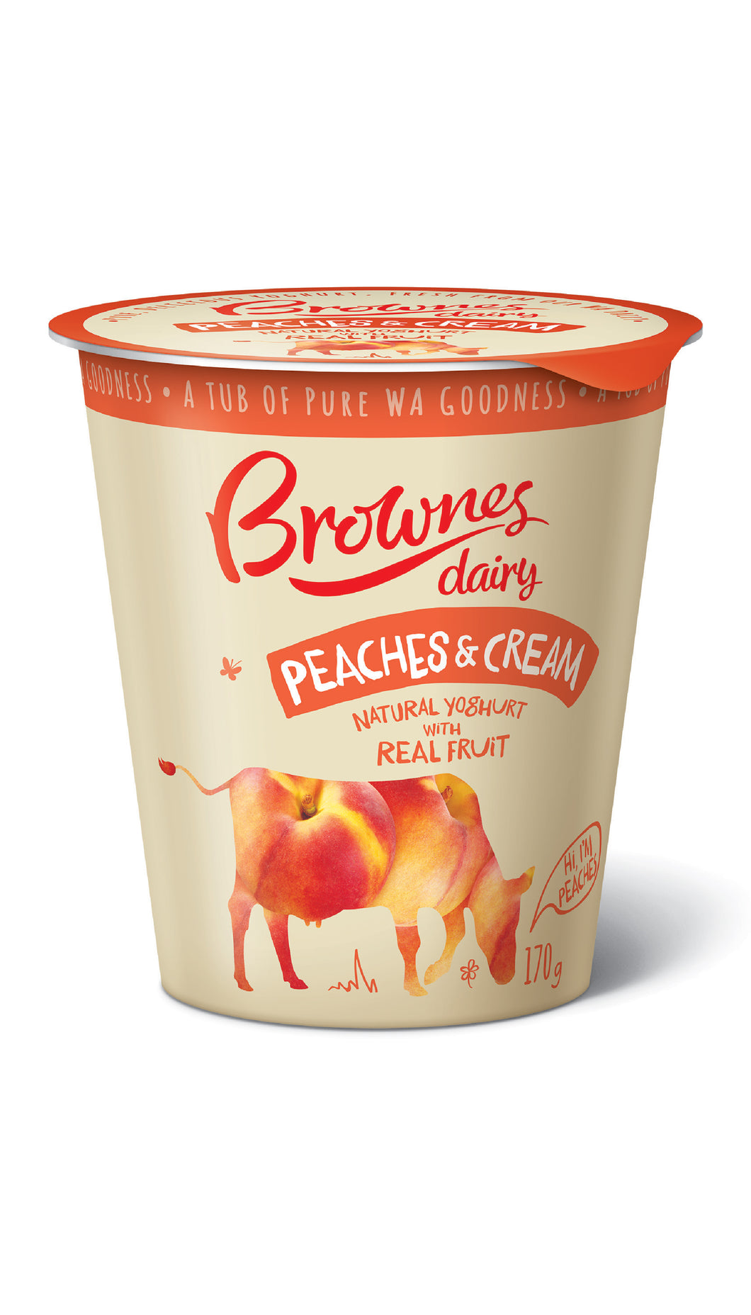 Brownes Dairy Natural Peaches and Cream Yoghurt 170g