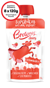 Brownes Dairy Superhero Strawberry Natural Yoghurt 8 x 120g