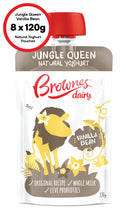 Load image into Gallery viewer, Brownes Dairy Jungle Queen Vanilla Bean Natural Yoghurt 8 x 120g
