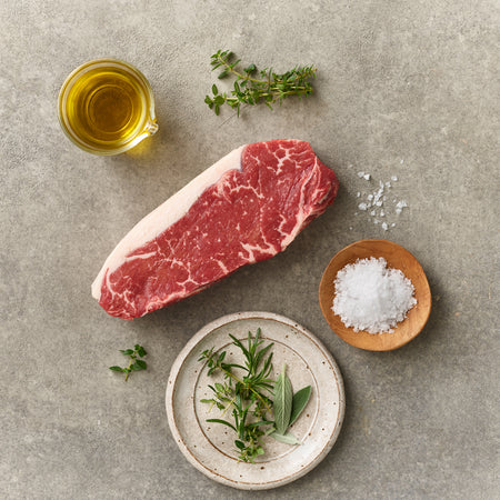 Barley Fed Free-Range Beef Striploin Steak MS4
