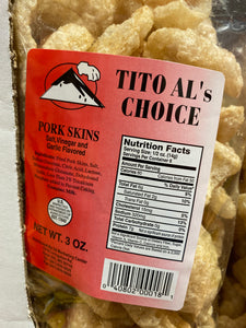 TITO AL'S CHOICE SALT, VINEGAR & GARLIC  PORK SKINS
