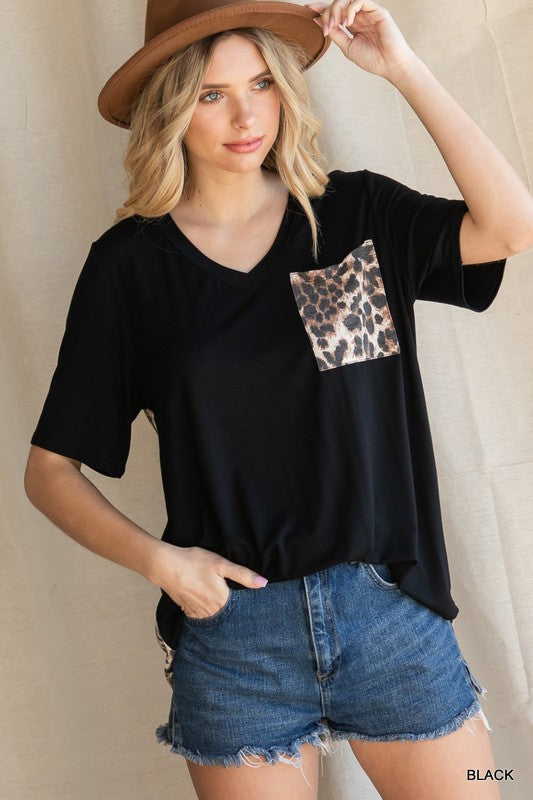 Leopard Print Back Short Sleeve Top