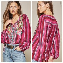 Load image into Gallery viewer, Striped embroidered top