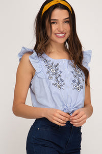 SLEEVELESS EMBROIDERED BUTTON DOWN STRIPED WOVEN TOP WITH FRONT TIE DETAIL