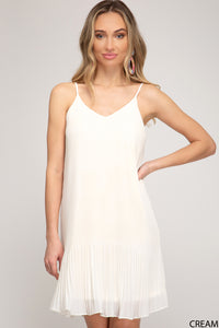 PLEATED WOVEN CAMI DRESS