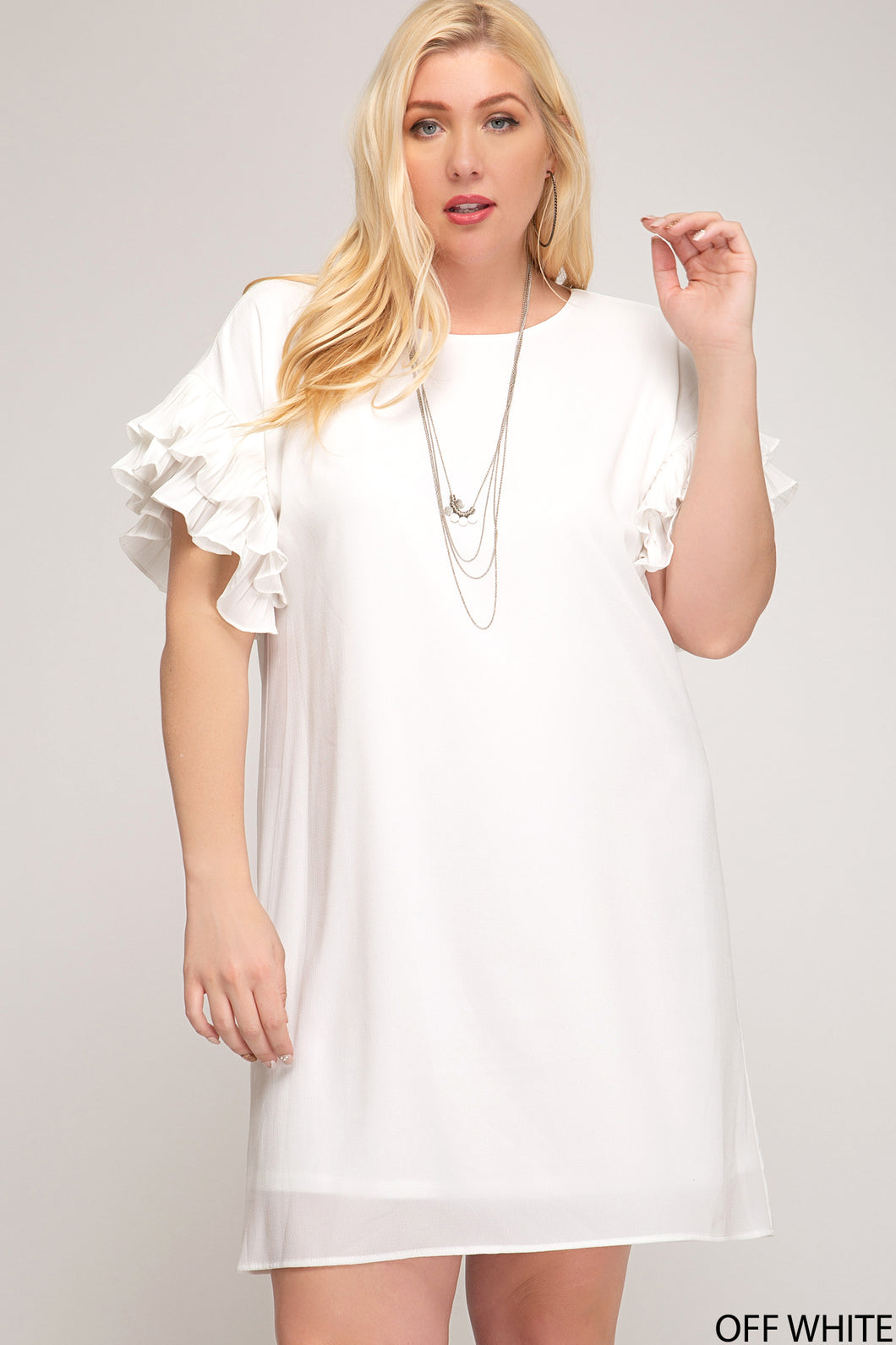 DOUBLE PLEATED SHORT SLEEVE WOVEN SHIFT DRESS