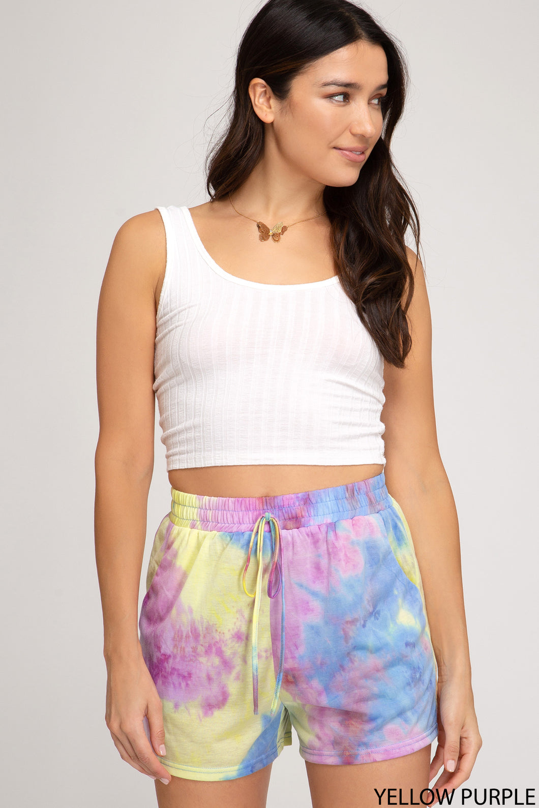 TIE DYED KNIT SHORTS WITH DRAWSTRING DETAIL