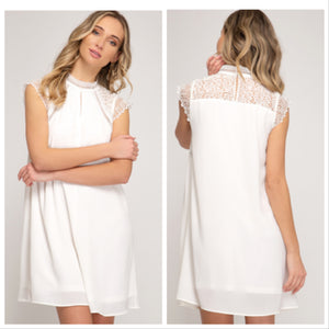 SHORT SLEEVE WOVEN DRESS WITH CROCHET LACE CONTRAST
