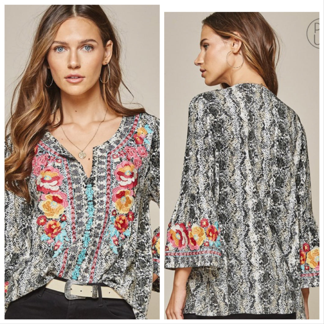 Carole Snake skin  Embroidered Shirt