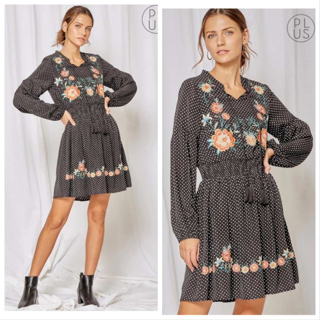 Rebecca Polka Dot Embroidered dress