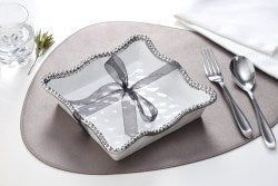 Luncheon Napkin Holder - White/Silver