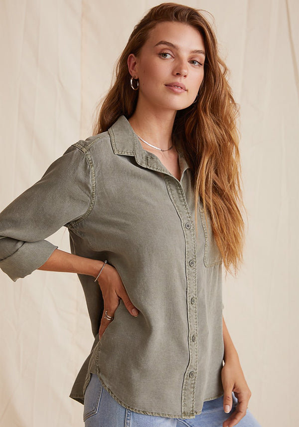 SHIRT TAIL BUTTON DOWN TOP