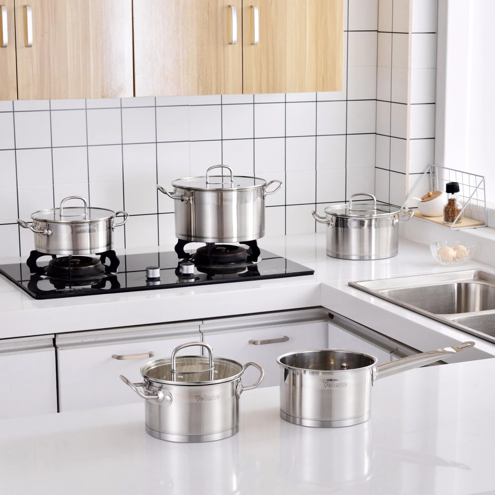 VELAZE™ Cookware Set, Set of 9, Stainless Steel, With Glass Lids