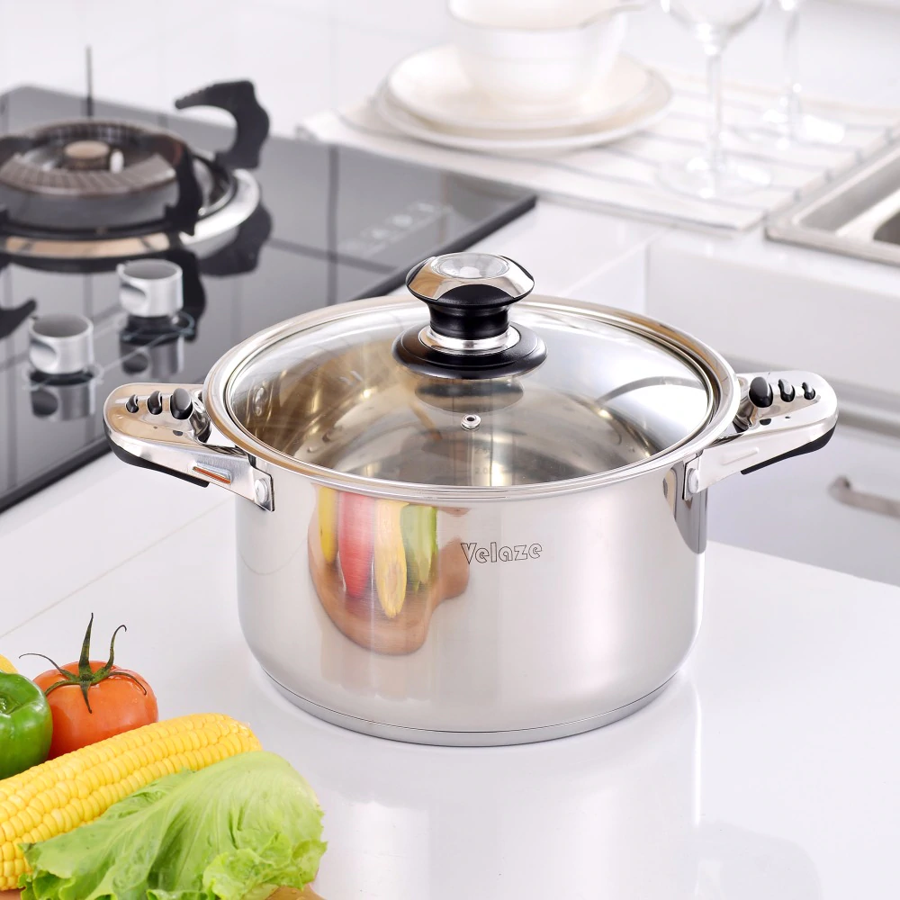 VELAZE™ Cookware Set, Set of 16, Stainless Steel, With Glass Lids