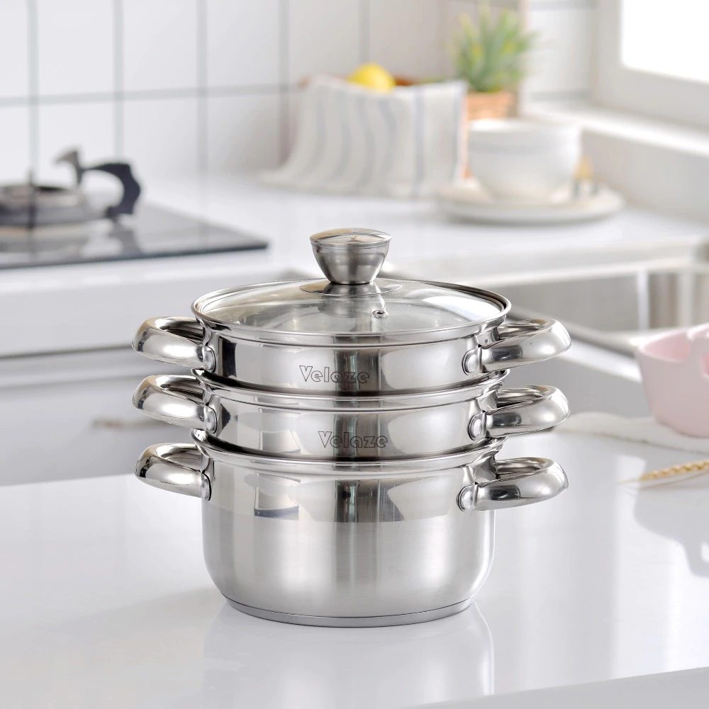 VELAZE™ Cookware Set, Set of 14, Stainless Steel, With Glass Lids