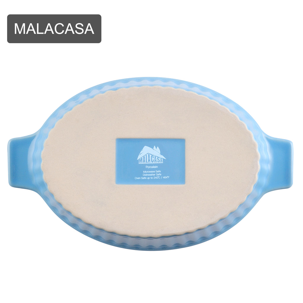 MALACASA 4-Pieces Oval Baking Dish Plate Set with Ceramic Handle