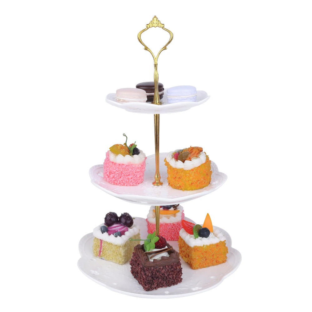 MALACASA  3 Tier White Dessert Cake Tower Stand With Golden Carry Handle