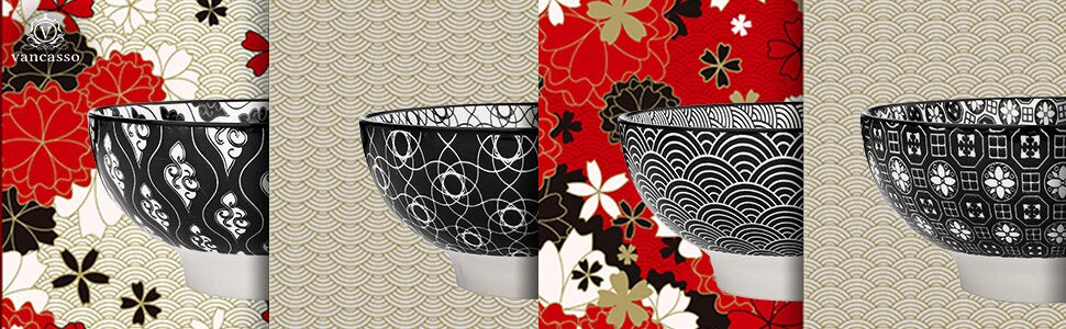 Japanese Style Cereal Bowls of 4-Pieces