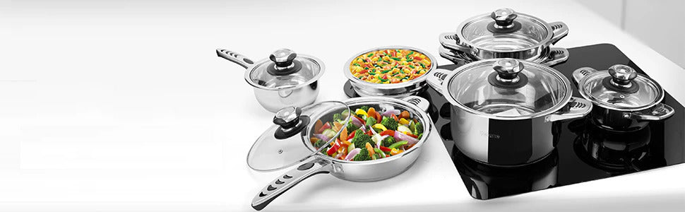 Cookware Set Of 16 Pieces With Glass Lids