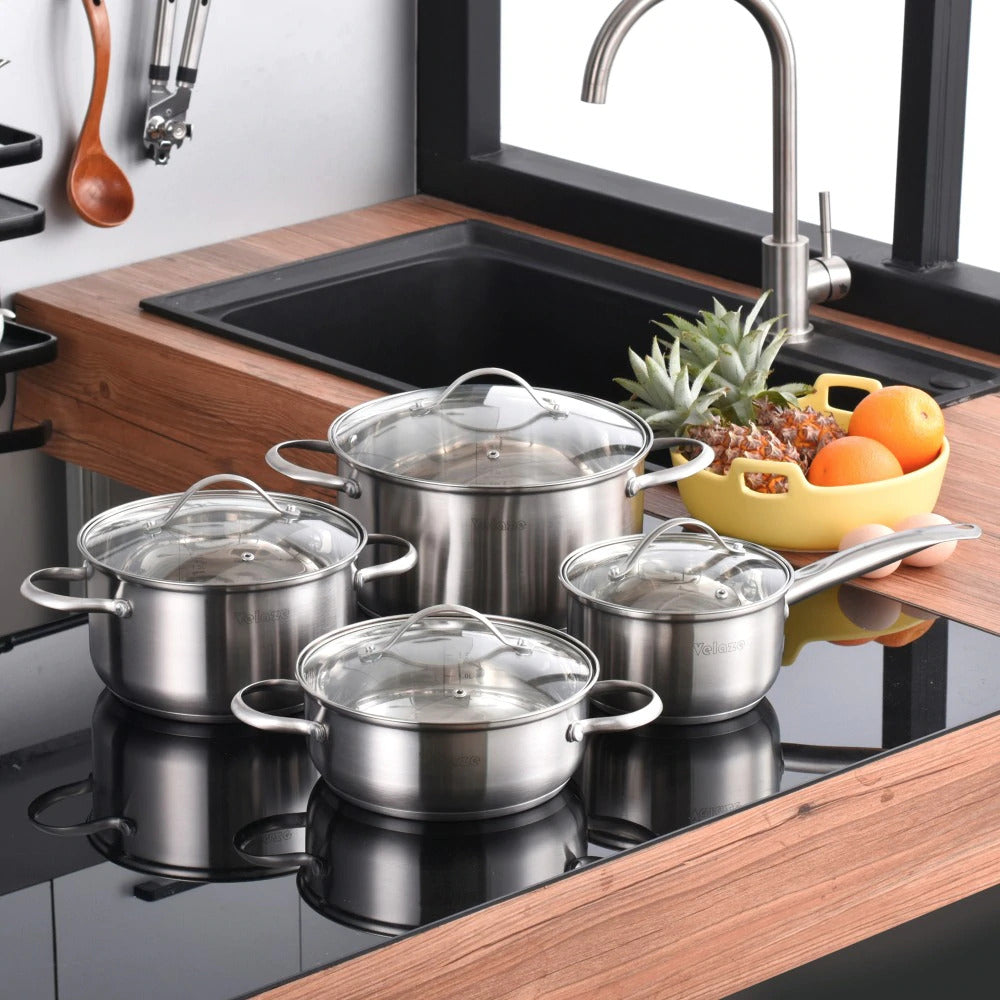 Velaze Cookware Set Stainless Steel 8-Pieces With Glass Lid