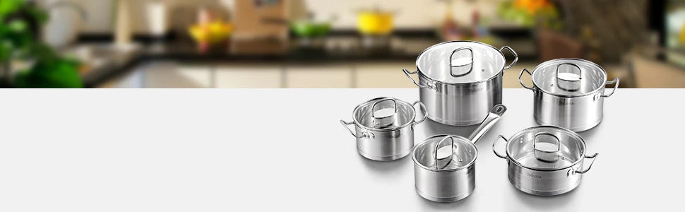 Cookware Set of 9 Pieces With Glass Lids