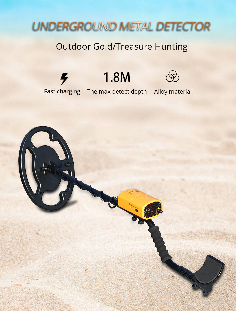 Waterproof Metal Detector - 1200mAh Battery Gold - Depth 1.5M - 1.8M