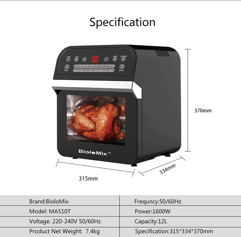16-in-1 12 Litre Air Fryer Oven With LED Digital Touchscreen
