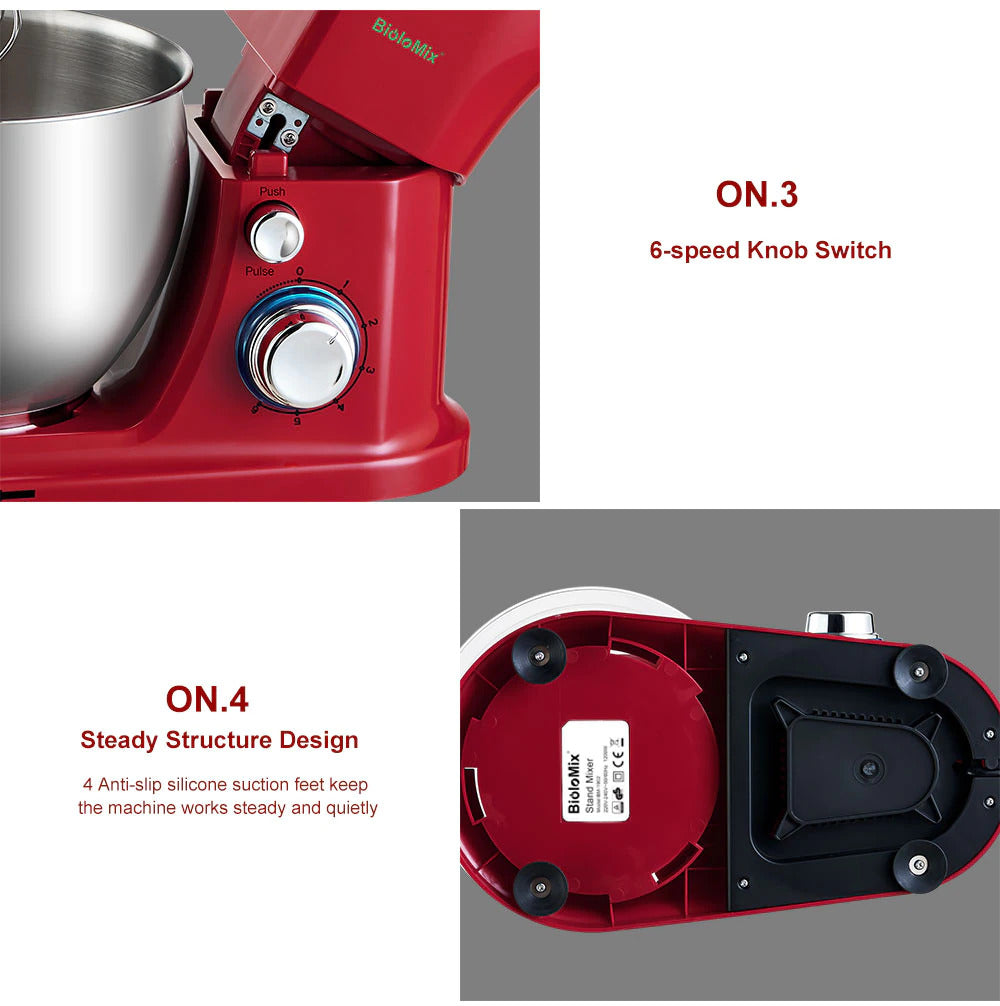 6-Speed Kitchen Stand Mixer With 5L Stainless Steel Bowl