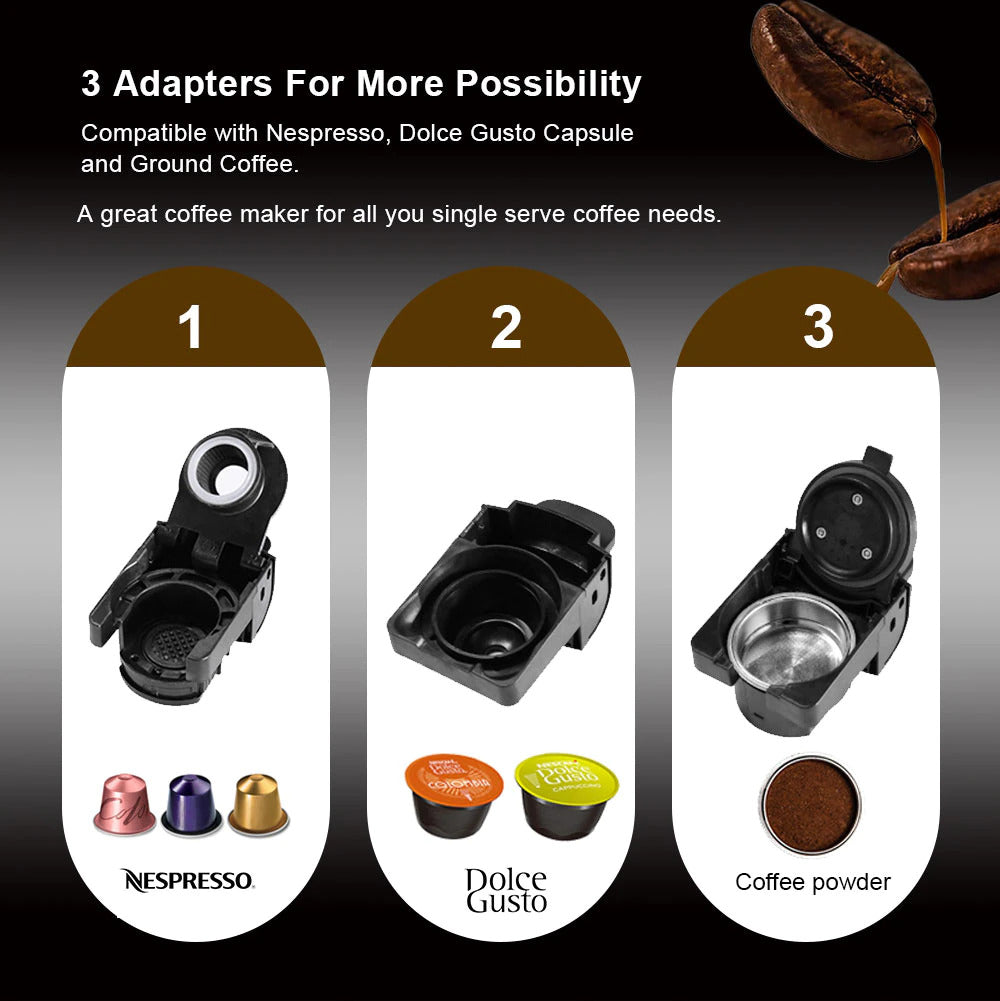 3 in 1 Espresso Coffee Machine With Multiple Coffee Adapters