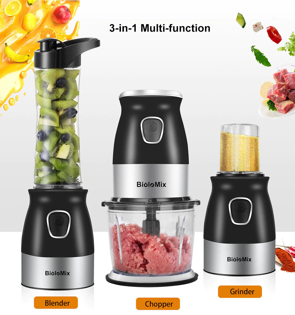 3 in 1 Personal Blender With Chopper Bowl And Juicer Bottle