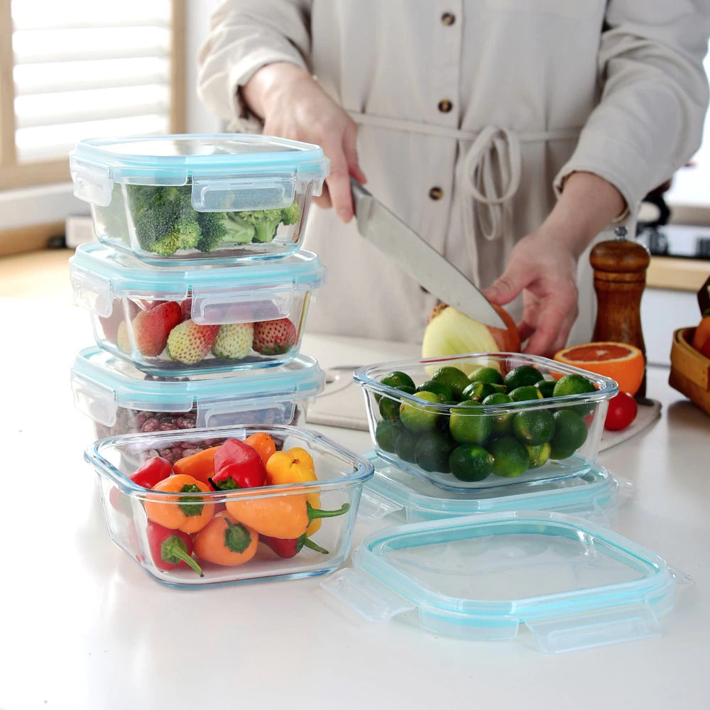 5 Packs Lunch Box Airtight Glass Food Storage Containers BPA-Free