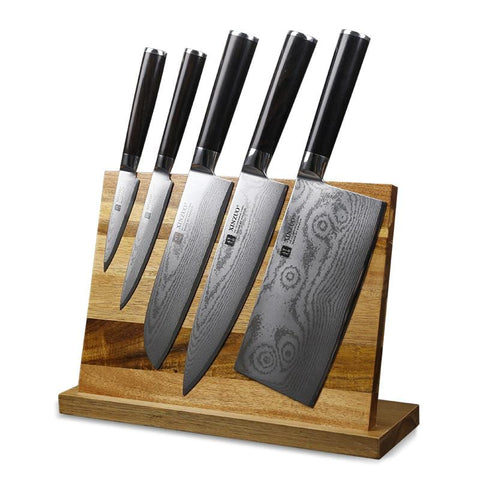 Image of Magnetic Knife Rack Acacia Wood - My Home Essentials