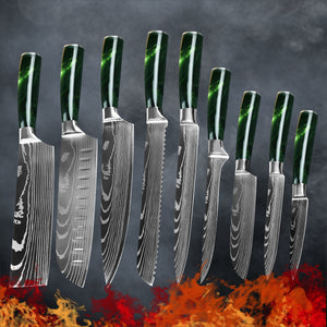 9 Piece Chef Knife Set Stainless Steel Blades - Green Resin Handle - My Home Essentials