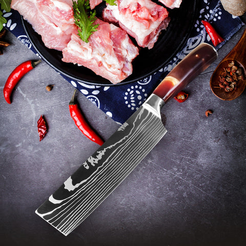 Image of Chef Knife Set Stainless Steel Blades - Red Resin Handle - My Home Essentials