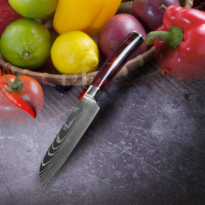 Chef Knife Set Stainless Steel Blades - Red Resin Handle - My Home Essentials