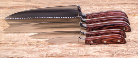 Image of Stainless Steel Kitchen Knife Set With Wood Handle - 5 Piece Set
