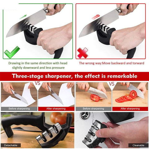 3 Stage Manual Knife Sharpener - My Home Essentials