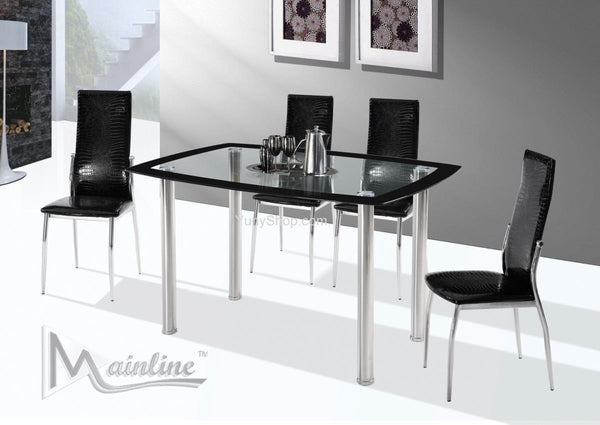 5PC Glass top dining table set